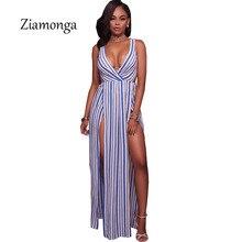 e474546d0ad Ziamonga Celebrity Cropped Deep V Neck Long Dress Women Sexy Two Side High  Slit Beach Maxi