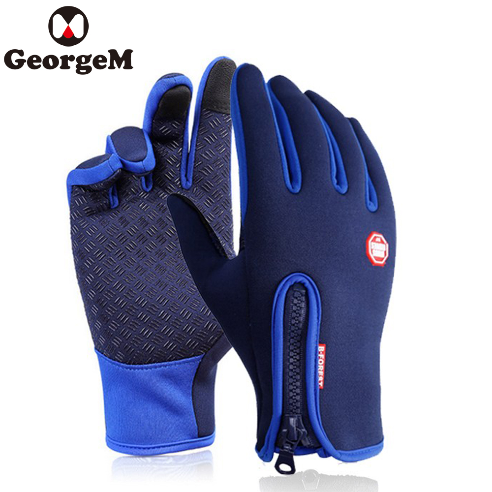 2018 Men Winter Waterproof Biking Gloves Three Finger Touch Screen Bike Gloves for Sport Sky Cycling Hiking Bycicle Accessories