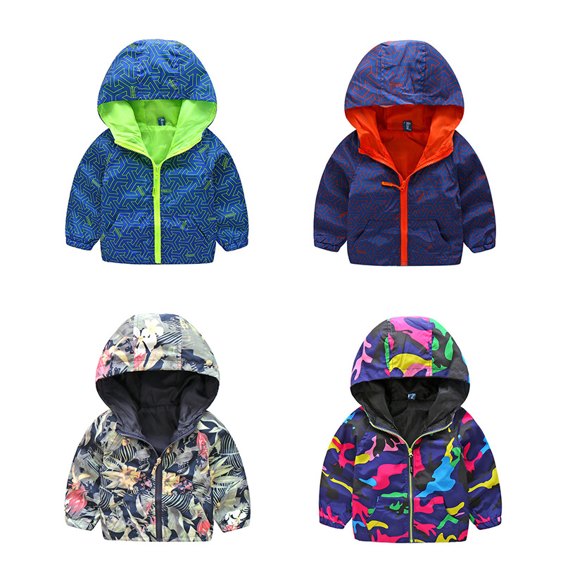 2018 New Arrivals Children Spring Camo Sport Coats Boy Girl Hooded Costume For Kids Fluorescent Outdoor