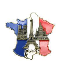 1Pcs New Creative 3D Metal Magnet France Map Fridge Sticker Resin Paris Tourist Souvenir Home Decor Carft