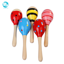 Wooden Baby Rattle  toys for baby 0-12 months Sand hammer for  Listening Practice Musica toy for Educational brinquedos