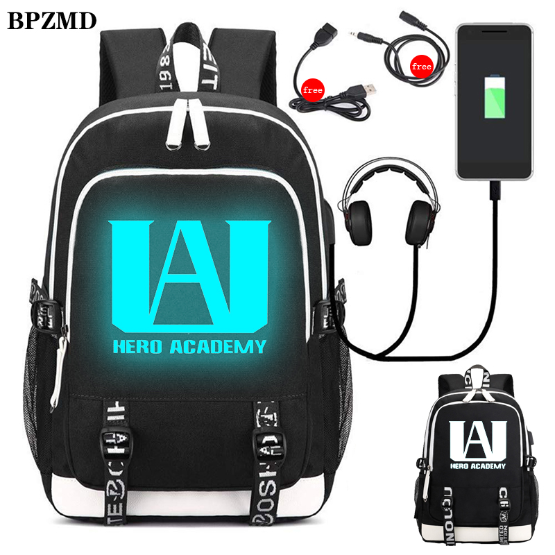 BPZMD My Hero Academia Nylon Luminous Backpack For Boys School Student Bags Girls Usb Charging Waterproof Laptop Travel Backpack