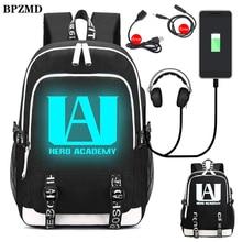 BPZMD 私のヒーロー学界ナイロン発光少年用バックパック高校生バッグ女の子 Usb 充電防水ラップトップトラベルバックパック