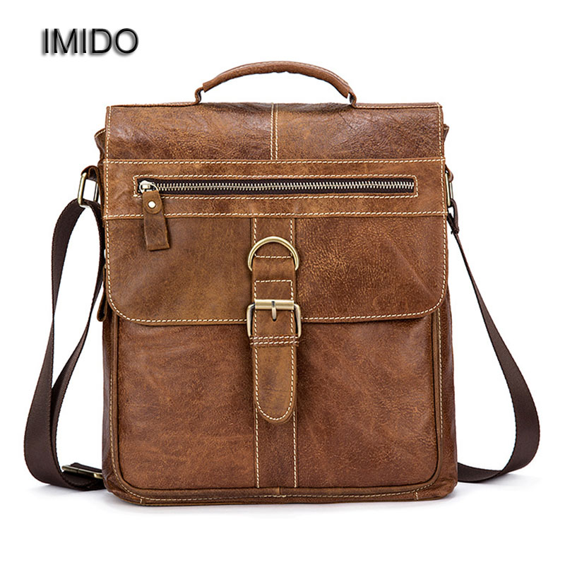 IMIDO Brand Men Bag Genuine Leather Messenger Bags Handbag for Male Briefcase Cowhide Tote Shoulder Crossbody Bag Brown MG031 vktery handbag men satchel pu leather male messenger crossbody bag business solid brown tote briefcase sling shoulder bags 3021
