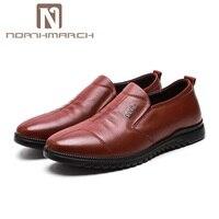 Northmarch 2018 Новая мужская обувь из натуральной кожи обувь без шнуровки мужские лоферы комфорт круглый носок Для мужчин платье свадебные туфли