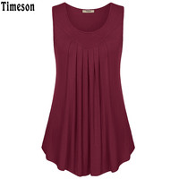 Summer Sleeveless Fold Curved Hem Solid Tee Women Tanks Long Loose Tunic Casual Vest Blue Red