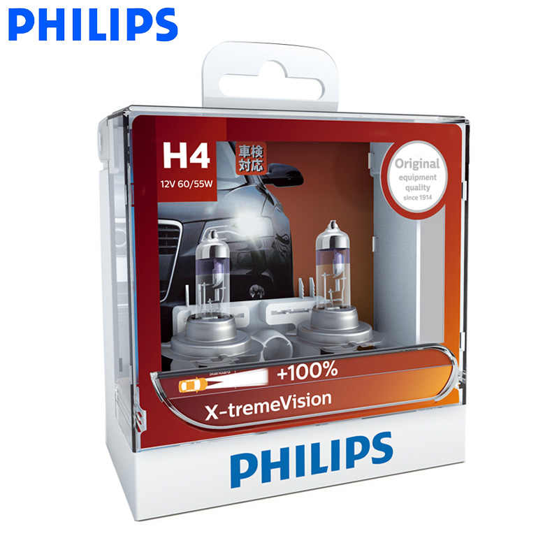 Philips H1 H4 H7 H11 9005 9006 HB3 HB4 X-treme Vision Car Headlight Bright Halogen Bulbs ECE Approve 100% More Vision, Pair