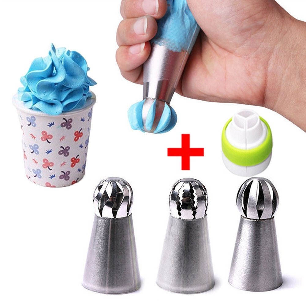 3 Piece Sphere Ball Shape Russian Icing Nozzles Tips Cupcake Decor Kitchen Baking Tool Plus Free Coupler Cake Decorating Tools