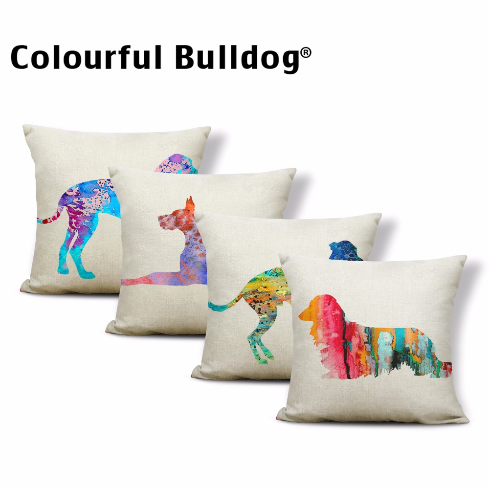 Colorful Animal Cushions Greyhound Great-dane Pillowcases Watercolor Dachshund 17In Throw Pillow Covers Kid Room Sofa Decoration