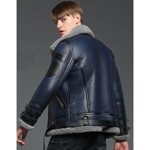 Image 2 - New Genuine Sheep Shearling Jacket Young Man real Sheep Skin Coat Male Winter Jacket Blue Men Fur Gentlemen Casual Overcoat