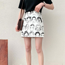 TVVOVVIN Harajuku, Мультяшные принтованные женские элегантные одношаговые юбки, летняя женская юбка J656