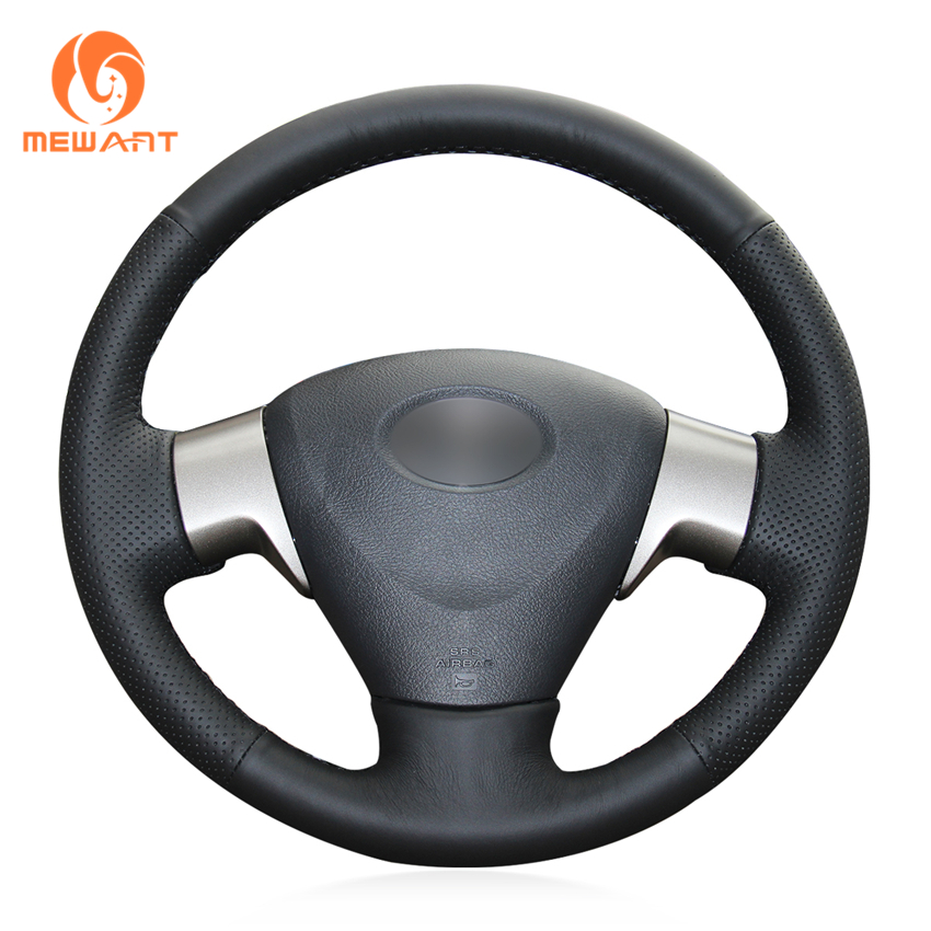 MEWANT Black Genuine Leather Car Steering Wheel Cover for Toyota Corolla 2006-2010 Matrix 2009 Auris 2007-2009
