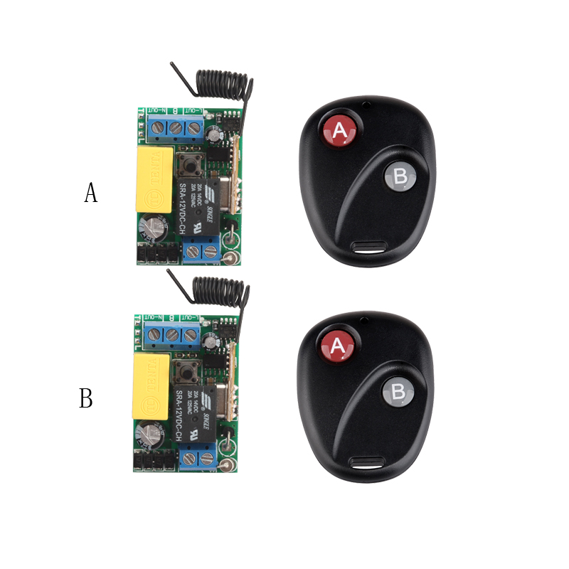 ge 18278 keychain remote transmitter with 1 outlet receiver rf 220V 1CH 10A Receiver & Transmitter RF Wireless Remote Switch Momenrary Toggle Latched Adjustable With Jumper 2PCS/LOT