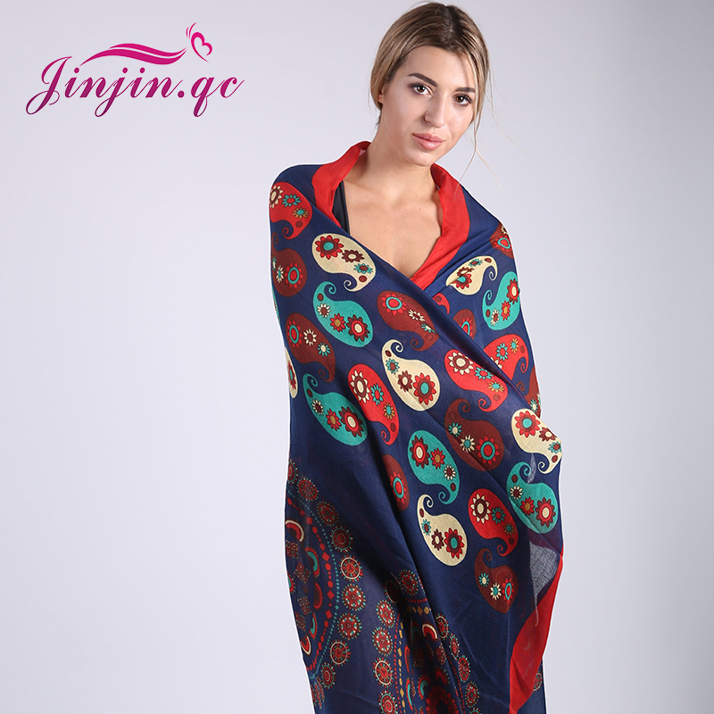 Jinjin.QC 2019 New Fashion   Scarf   Women Floral   Scarves   and   Wraps   Elephant Printed Beach Sunscreen Shawls Drop Shipping