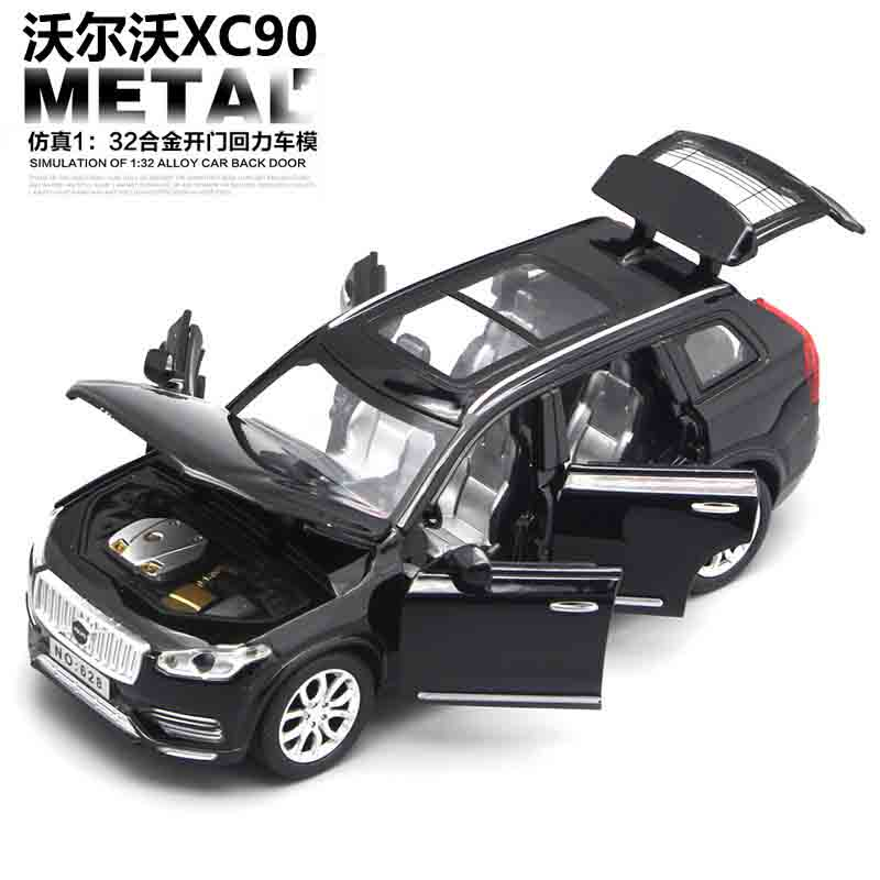 1:32 Diecast <font><b>Cars</b></font> Volvo XC90 <font><b>Model</b></font> Toy Openable Doors Pull Back Music Light <font><b>Car</b></font> Toys for kids children image