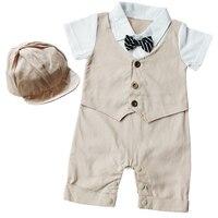 Iiniim Newborns Baby Boys Gentleman Cotton Romper Bodysuit First Birthday Party Christmas Set Jumpsuit With Hat