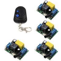 AC 220 V 1CH Wireless Remote Control Switch 4 Receiver With Cover 1 Transmitter New Light