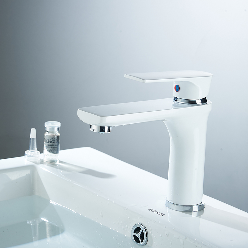 Modern White Bathroom Basin Faucet Chrome Finish Single Handle Deck Mounted Faucet Black Hot And Cold Water Mixer Sink Tap 88311 xoxo modern bathroom products chrome finished hot and cold water basin faucet mixer single handle water tap 83007