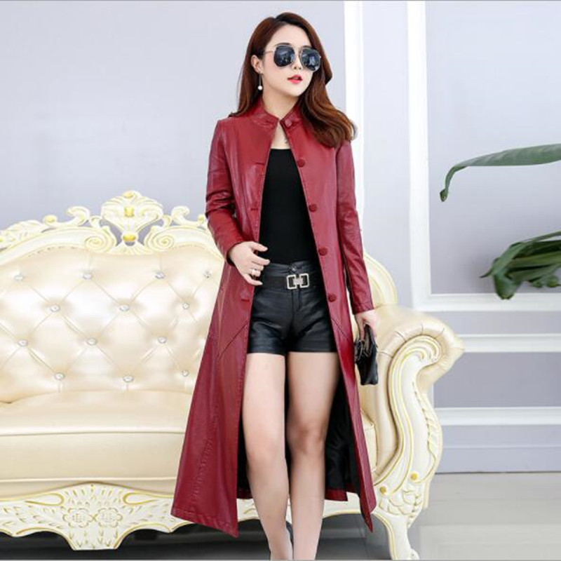 Vêtements Élégant Black Grande vent Femmes Coupe Red Mince wine Peau Cuir Vestes Taille Longue red En 4xl 5xl199 Manteaux Couleur Section Solide Femelle zrAzq