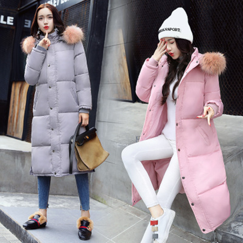 Winter Fashion Womens Long Cotton Coats with Fur Collar Hooded Self-cultivation Hot Sale Maternity Clothings Black Grey M-2XL hot sale 2015 new mens fur hoolded wadded coats winter long cotton padded coats women couples winter jackets plus size h4590