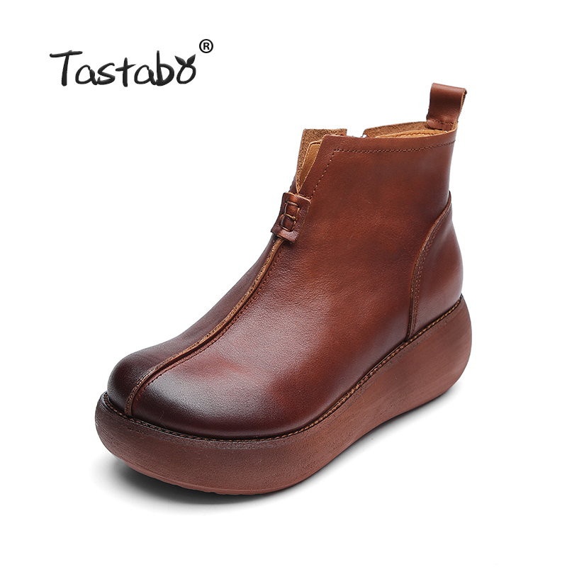 Tastabo Platform Boots Women Handmade Black Martin Shoes Ladies Comfortable Flat Shoes Genuine Leather Ankle Boots for Women