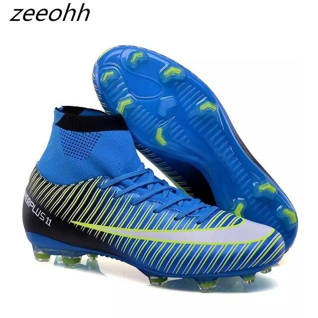 Zeeohh nuevos adultos de fútbol de los hombres botas tobillo al aire libre  FG suela zapatillas de fútbol deportes Futsal fútbol zapatillas de deporte  Plus ... a2083e5c3af88