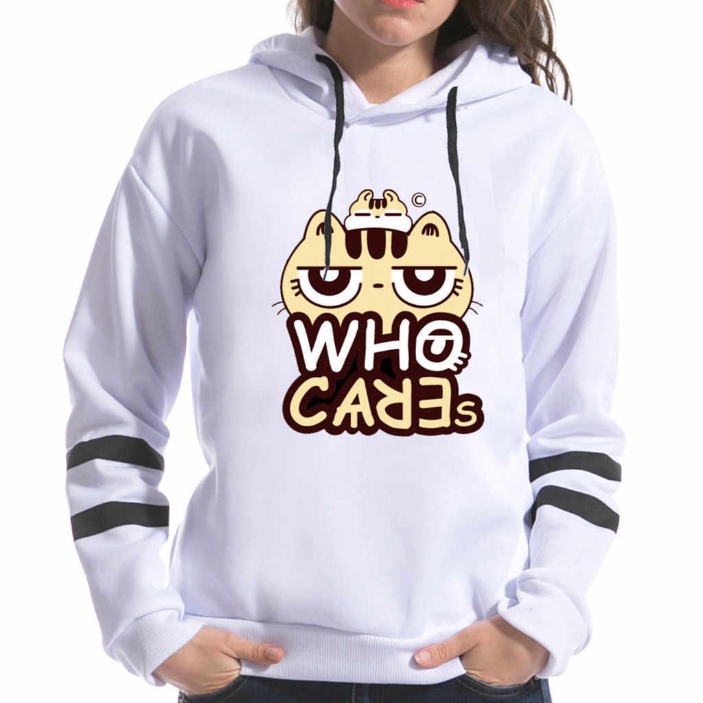 ผู้หญิงแมวพิมพ์ Cut-Out เสื้อกันหนาวเสื้อแฟชั่นผู้หญิงสบายๆแขนยาวรอบคอเสื้อ haut femme manche longue