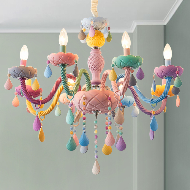 Modern LED Chandelier Lights Kid Room Colorful Crystal Metal Light Fixture Bedroom Children Ceiling Lamp Indoor Home Decoration