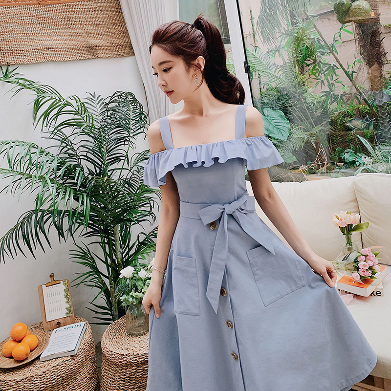 Dabuwawa Women s Fashion Ruffled High Waist Midi Dress 2019 New Summer Elegant Should Strap Dress