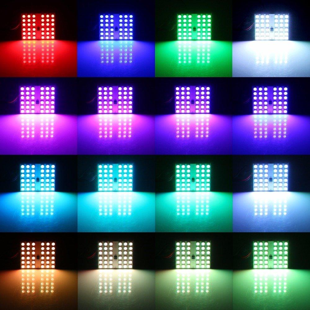 2 PCS T10 5050 SMD 16 Warna 15 RGB LED Remote Control Mobil Interior - Lampu mobil - Foto 6