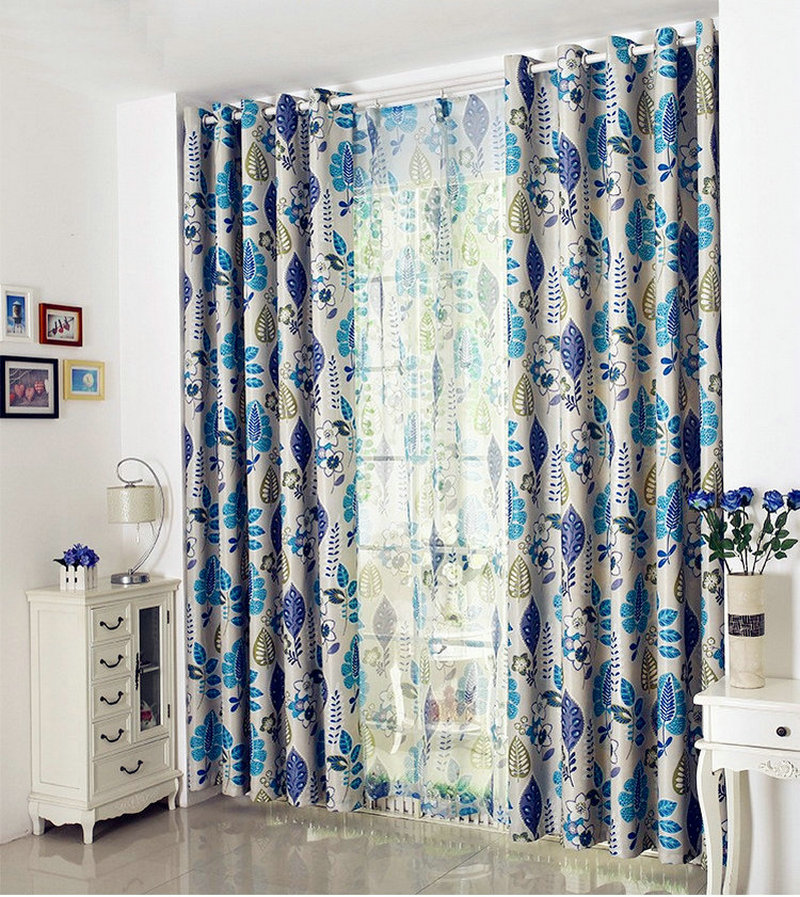 Hot Sale European Style Linen Leaves Printed Window