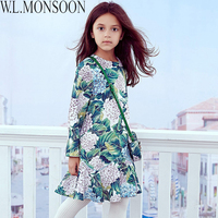 W L MONSOON Girls Ortensia Dress With Handmade Butterfly 2017 Brand Princess Dress Half Sleeve Robe