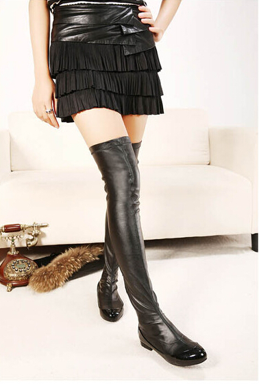 Sexy flat heel black leather thigh high boots stretchy