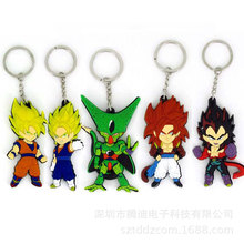 Anime Dragon Ball Monkey  Son Goku Super Saiyan Silicone PVC   action figure pendant Keyring Collection toy ZKDBF