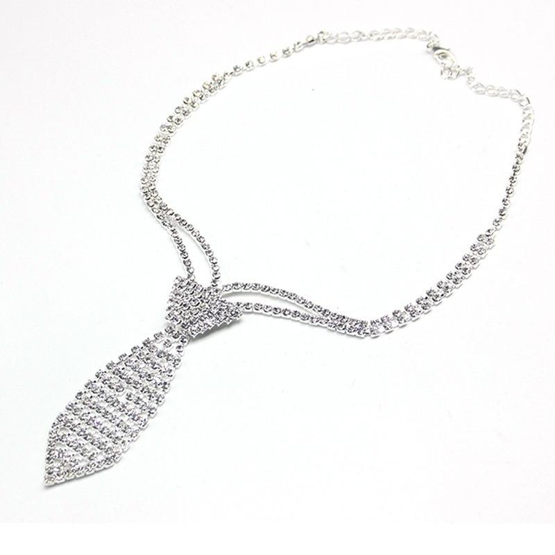 StoneFans Fashion Collar Jewelry Silver Color Bride Rhinestone Tie Accessories Wedding Nec