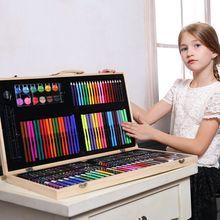 180 шт художественные наборы детский набор для рисования, инструмент для рисования с деревянным чехол