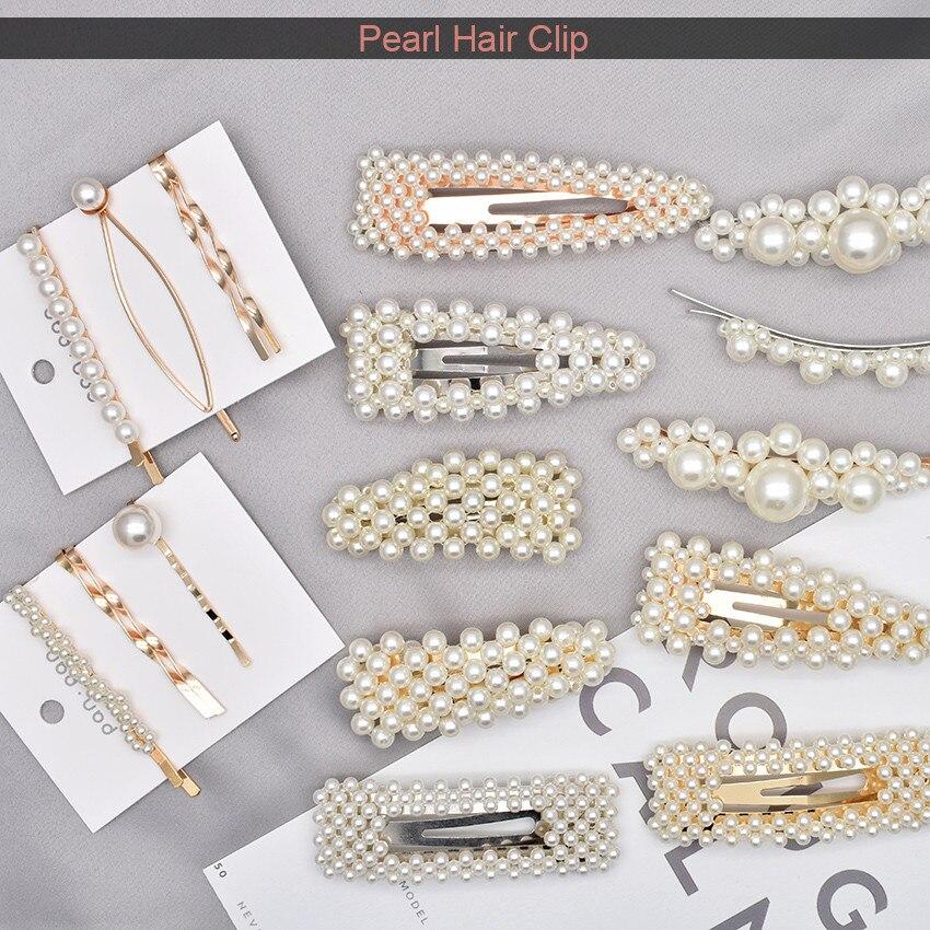Pearl Hair Clip 2019 Fashion Korea  Geometric   Irregular Gold  Accessories  Pin Hairgrip   Dropship headwear for Girls Women