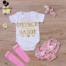Chivry 4Pcs Newborn Baby Girls Cotton Tops Romper Bodysuit + Floral Pants Headband Leg Warmer Outfits Infant Clothes Set