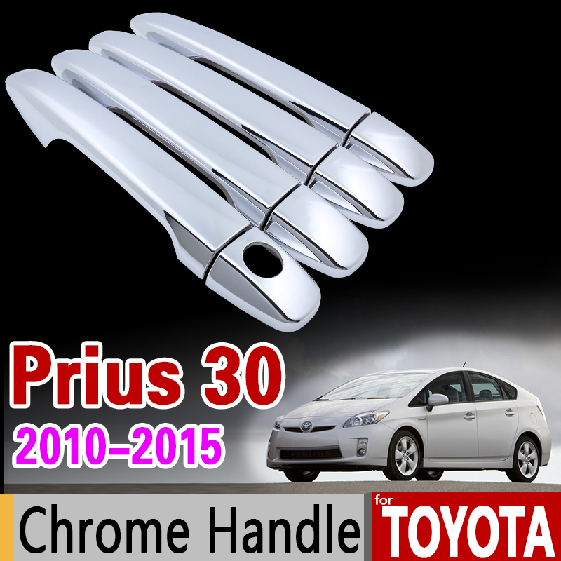 for Toyota Prius 30 2010 - 2015 Chrome Handle Cover Trim xw30 zvw30 zvw35 2011 2012 2013 2014 Accessories Stickers Car Styling for suzuki splash 2007 2014 chrome handle cover trim set of 4door 2008 2009 2010 2011 2012 2013 accessories sticker car styling