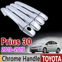 for Toyota Prius 30 2010 2015 Chrome Handle Cover Trim xw30 zvw30 zvw35 2011 2012 2013 2014 Accessories Stickers Car Styling
