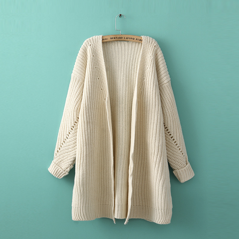 women Korean style Thick winter cardigan reglan hollow out ...