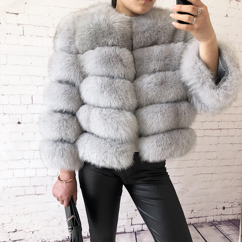 2019 new style real fur coat 100% natural fur jacket female winter warm leather fox fur coat high quality fur vest Free shipping 93