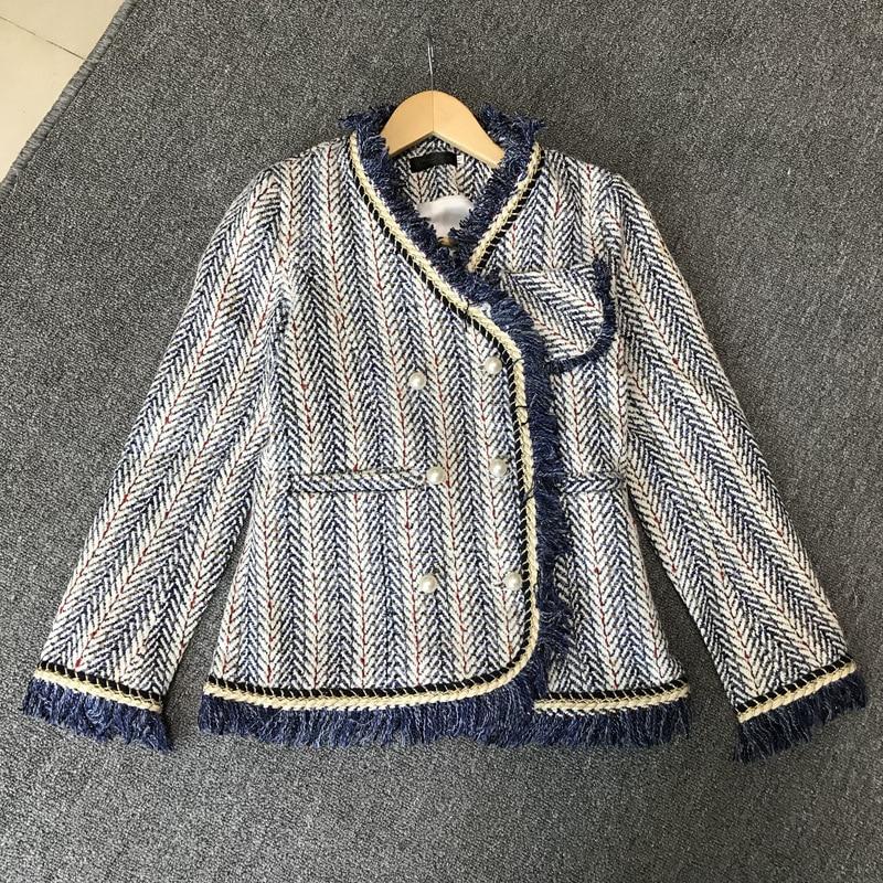 Automne Double Vestes Lxunyi V Manteau Taille Breasted Laine Gland Femelle Haute Blue Veste Dames Tweed Cou Mélange Perles Femmes De 8qUYqd