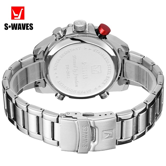 SWAVES Brand Dual Display Watches Men Wach Quartz Sport Waterproof Digital Watch Big Clock Stainless Steel Relogio Masculino 4
