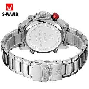 Image 5 - SWAVES ブランドデュアルディスプレイは、男性ワッハ石英スポーツ防水デジタル時計大時計ステンレス鋼レロジオ Masculino