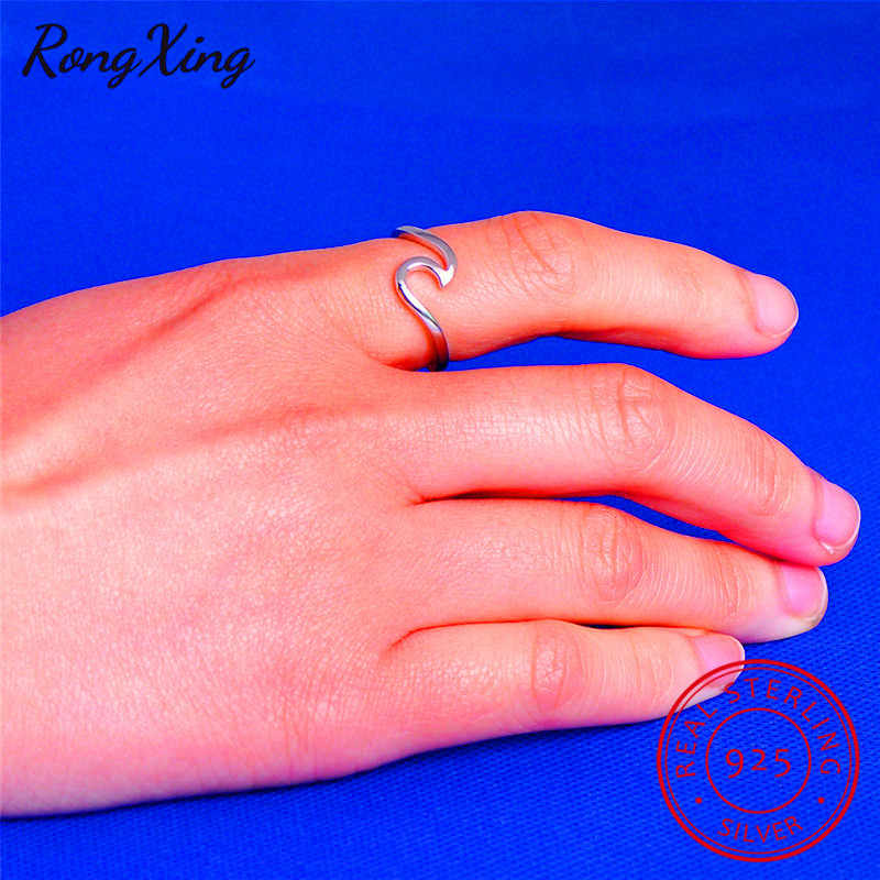 RongXing 100% Real 925 Sterling Silver Wave Rings For Women Men Fashion Jewelry Vintage Wedding Engagement Promise Rings SV1003