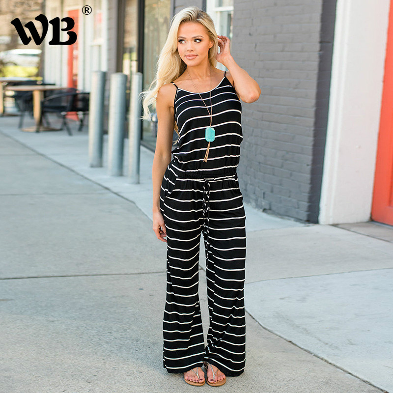 Plus Size S-3XL Wide Leg Pants 2018 New Summer Women Jumpsuits Female Sleeveless Rompers Vest Horizontal Stripes Playsuit