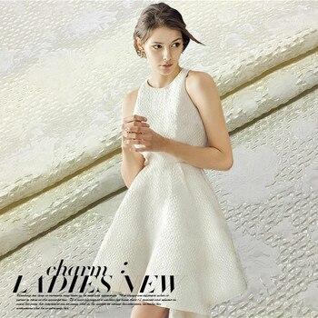 Three-dimensional jacquard fashion fabric crisp-white dress jacket DIY fabrics wholesale high quality jacquard cloth