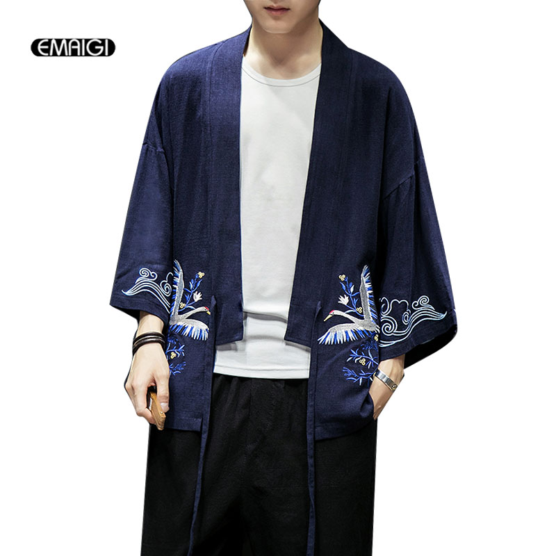 Men Summer Cotton Linen Embroidery Jacket Cardigan Male Fashion Casual Loose Kimono Shirt Coat