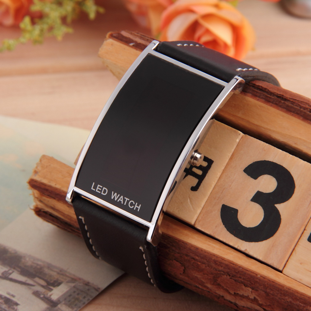 popular slim digital watch buy cheap slim digital watch lots from black led watch for men women sports casual leather strap wristwatches slim digital led display watches